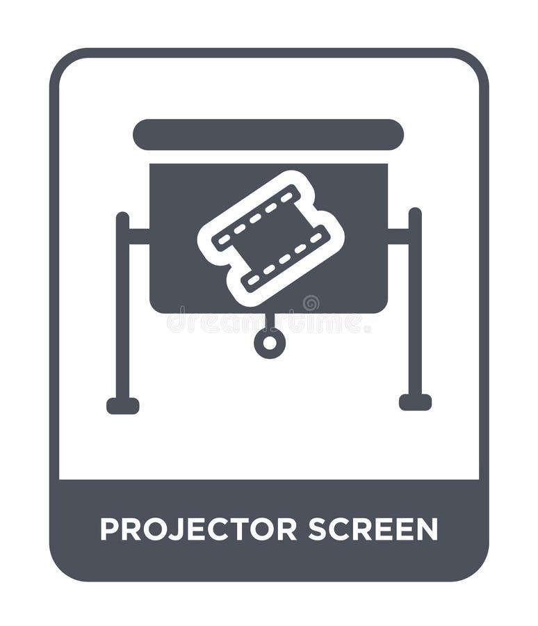 icono de la pantalla de proyector en estilo de moda del diseño icono de la pantalla de proyector aislado en el fondo blanco icono ilustración del vector