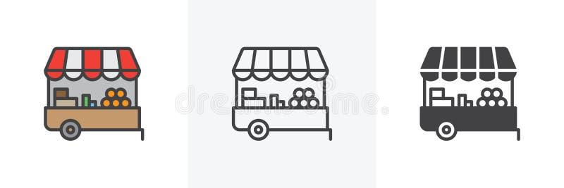 Icono de la parada del mercado de los granjeros ilustración del vector