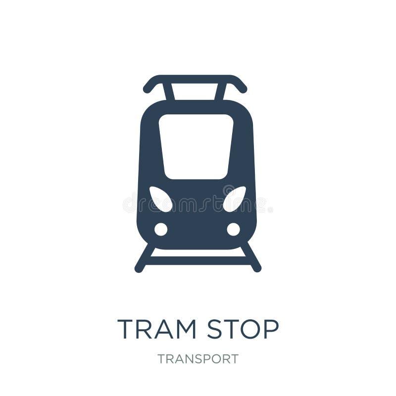 icono de la parada de la tranvía en estilo de moda del diseño icono de la parada de la tranvía aislado en el fondo blanco plano s ilustración del vector