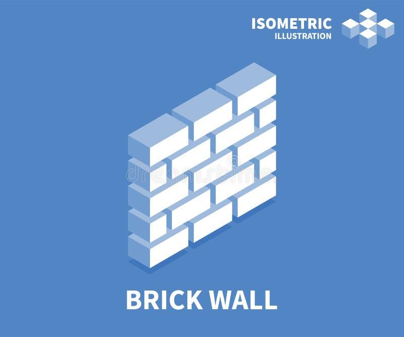 Icono de la pared de ladrillo Plantilla isométrica para el diseño web en el estilo plano 3D Ilustración del vector ilustración del vector