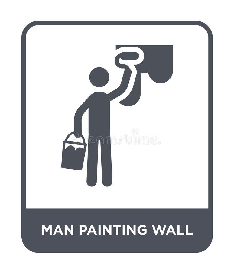 icono de la pared de la pintura del hombre en estilo de moda del diseño icono de la pared de la pintura del hombre aislado en el  libre illustration