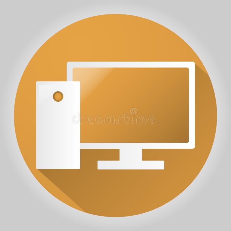 Icono de la PC en estilo plano de moda aislado en fondo gris Símbolo para su diseño del sitio web, logotipo, app, UI del ordenado stock de ilustración