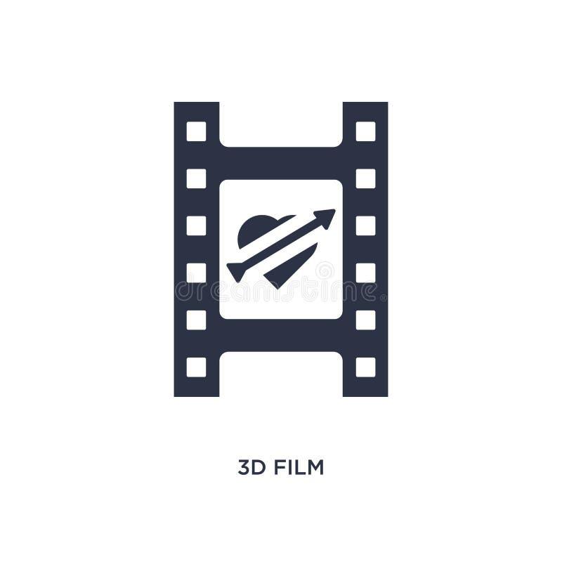 icono de la película 3d en el fondo blanco Ejemplo simple del elemento del amor y del concepto el casarse libre illustration