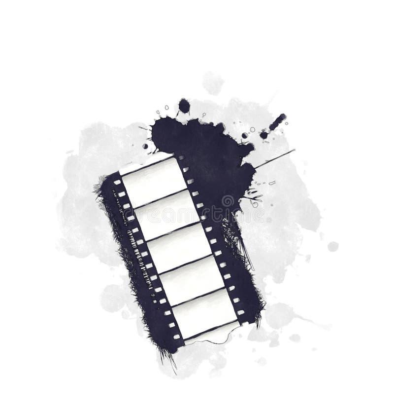 Icono de la película del grunge de la acuarela ilustración del vector