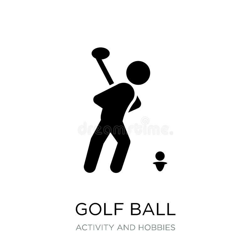 icono de la pelota de golf en estilo de moda del diseño icono de la pelota de golf aislado en el fondo blanco plano simple y mode stock de ilustración