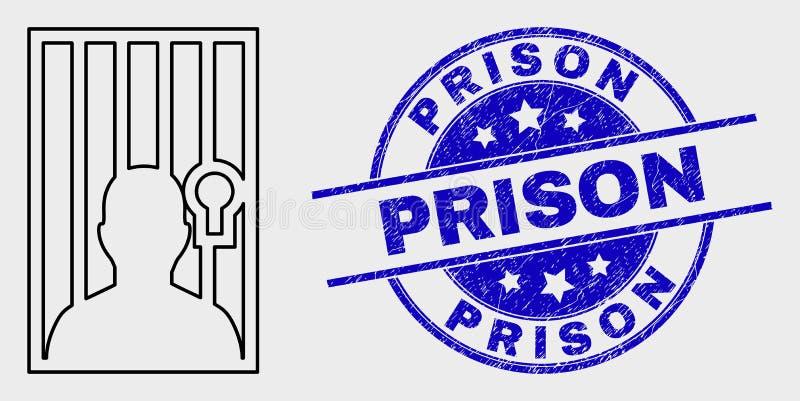 Icono de la persona del vector y sello encarcelados lineares de la prisión de la desolación libre illustration