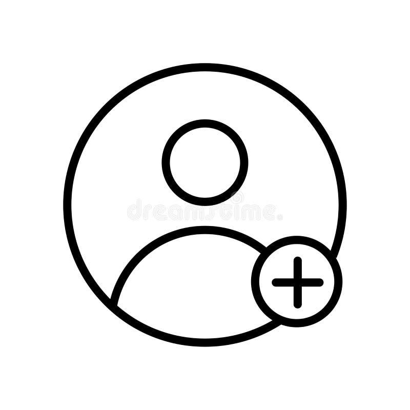 icono de la petición del amigo aislado en el fondo blanco stock de ilustración