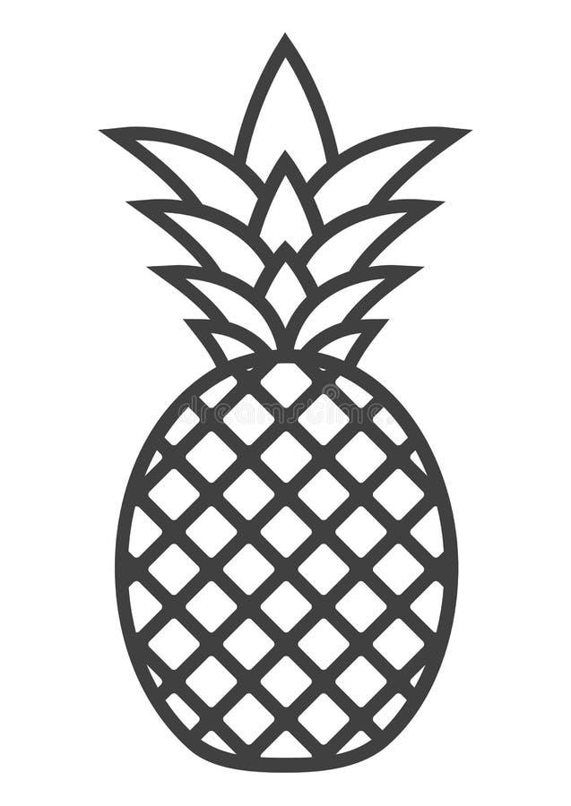 Icono de la piña del vector en el fondo blanco fotografía de archivo