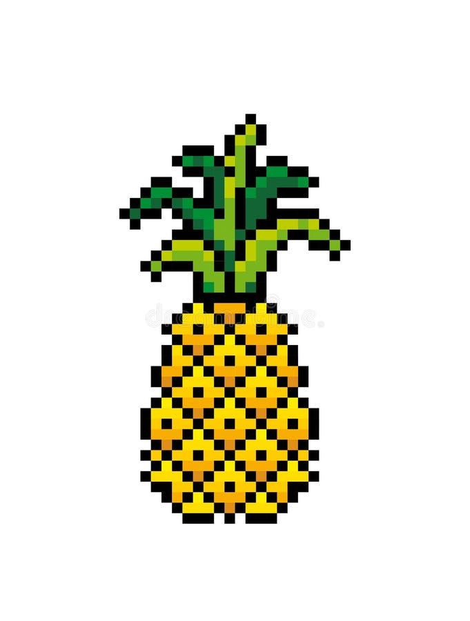 Icono de la pi?a Arte del pixel Esquema de hacer punto y del bordado fotos de archivo libres de regalías