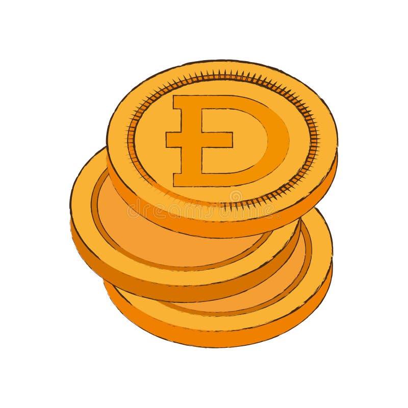 icono de la pila del cryptocurrency del dogecoin libre illustration