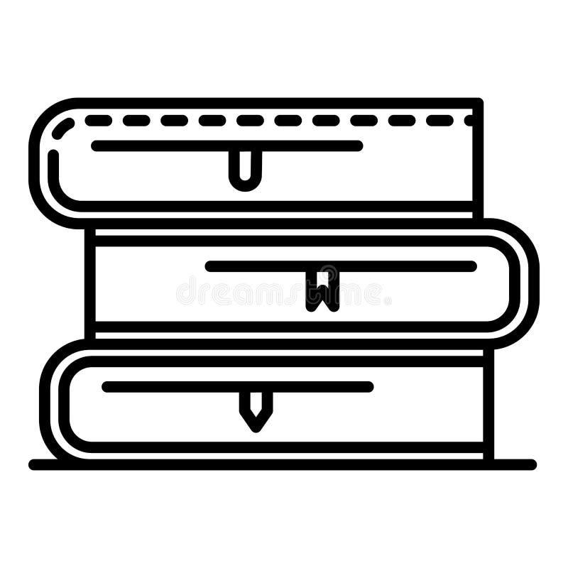 Icono de la pila de libro de escuela, estilo del esquema stock de ilustración