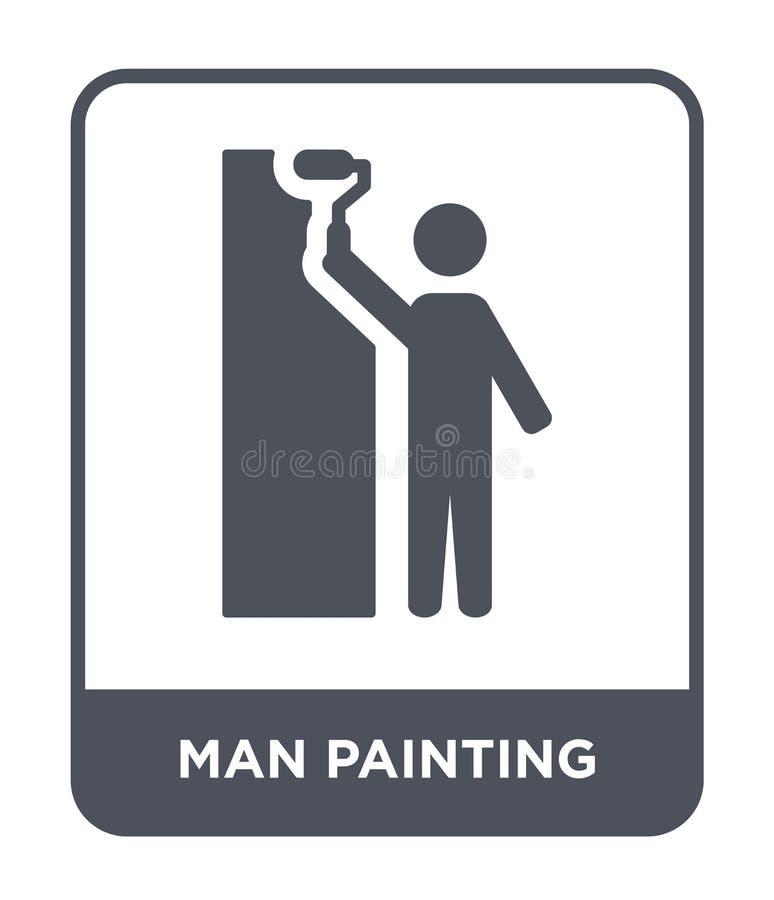 icono de la pintura del hombre en estilo de moda del diseño icono de la pintura del hombre aislado en el fondo blanco icono del v stock de ilustración