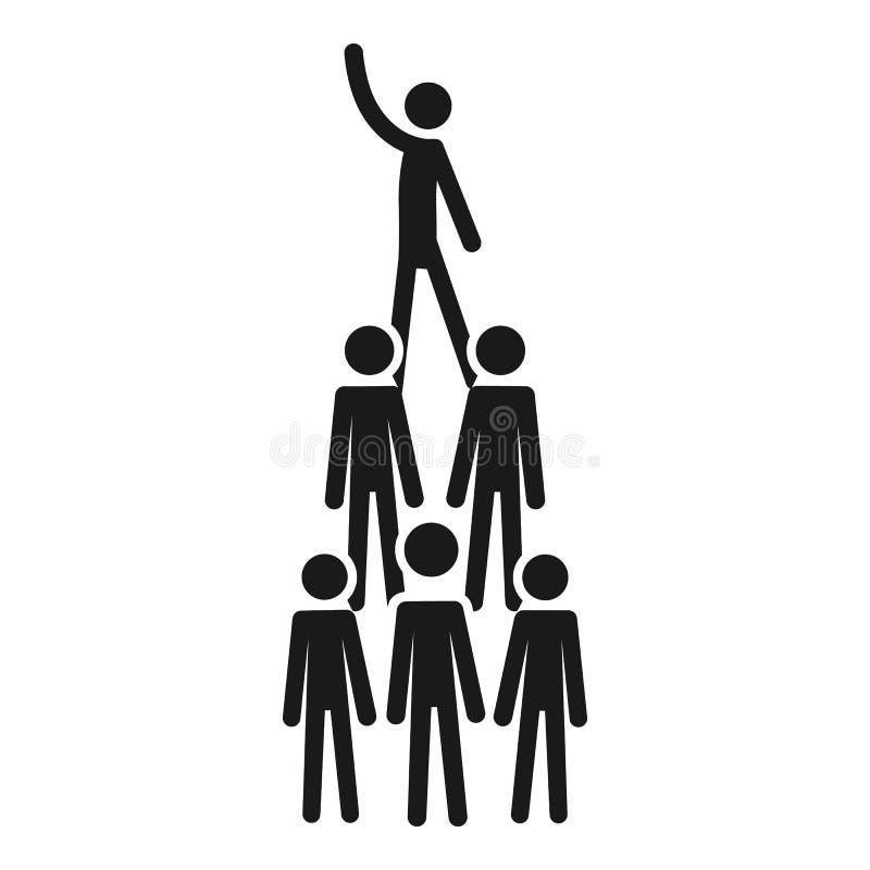 Icono de la pirámide de la cohesión de la gente, estilo simple ilustración del vector