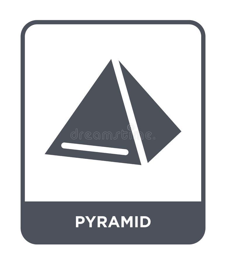 icono de la pirámide en estilo de moda del diseño Icono de la pirámide aislado en el fondo blanco símbolo plano simple y moderno  stock de ilustración