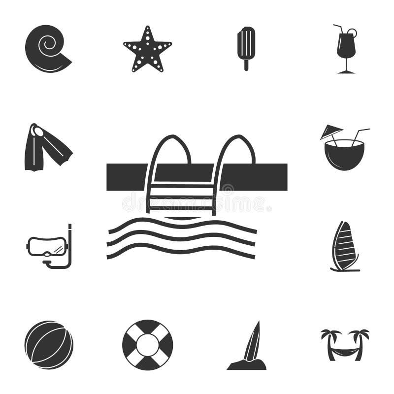 Icono de la piscina Sistema detallado de iconos del viaje Diseño gráfico superior Uno de los iconos de la colección para los siti ilustración del vector