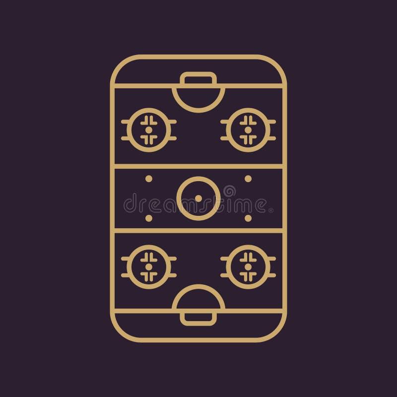 Icono de la pista de hockey sobre hielo Símbolo del juego plano ilustración del vector