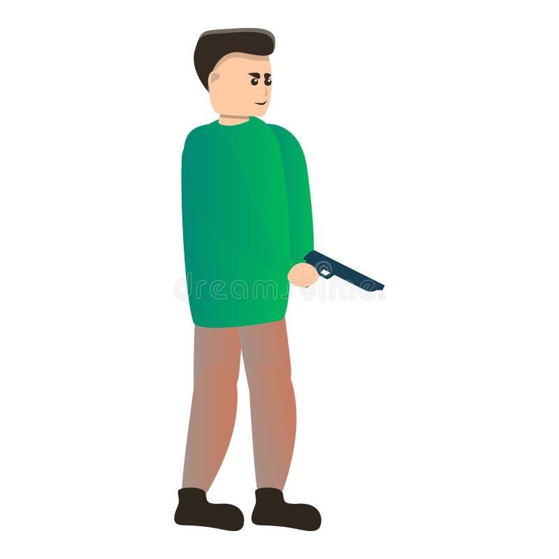 Icono de la pistola de la pistola, estilo de la historieta stock de ilustración