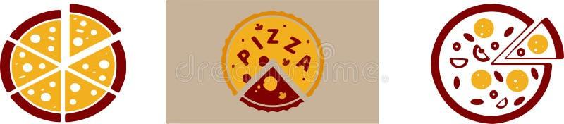 Icono de la pizza en el fondo blanco ilustración del vector