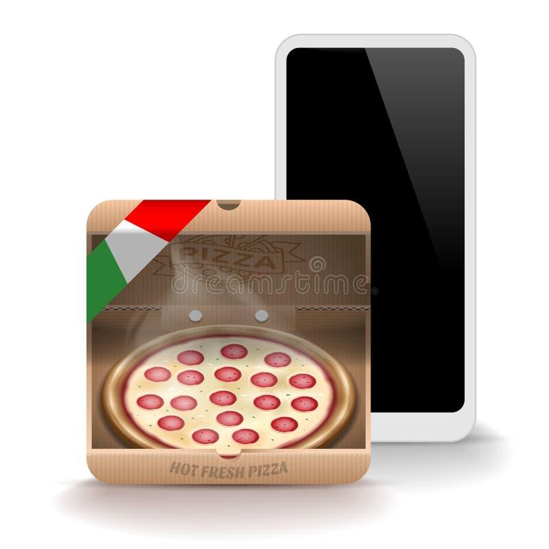 Icono de la pizza para la aplicación móvil aislado en el fondo blanco Ilustración del vector libre illustration