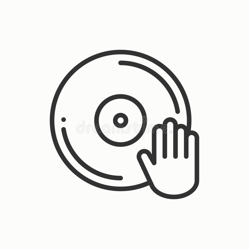 Icono de la placa giratoria del disk jockey de DJ Club de la vida nocturna de la danza del disco del disco de vinilo Evento de lo stock de ilustración