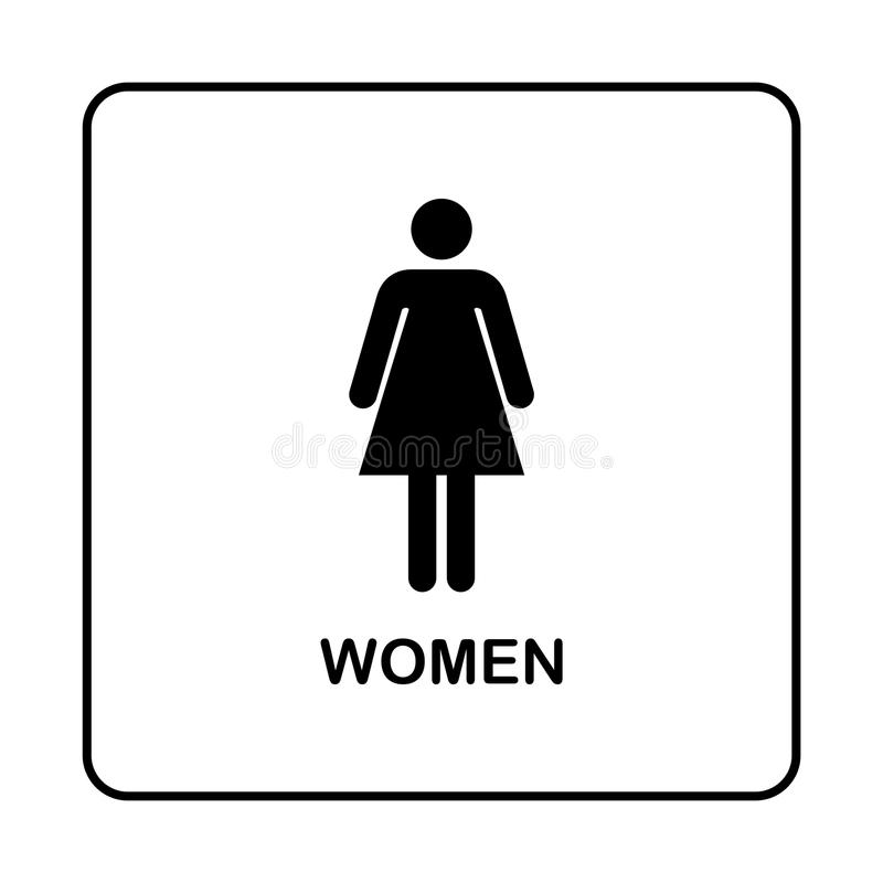 Icono de la placa de la puerta del retrete del WC Placa simple del cuarto de baño ilustración del vector