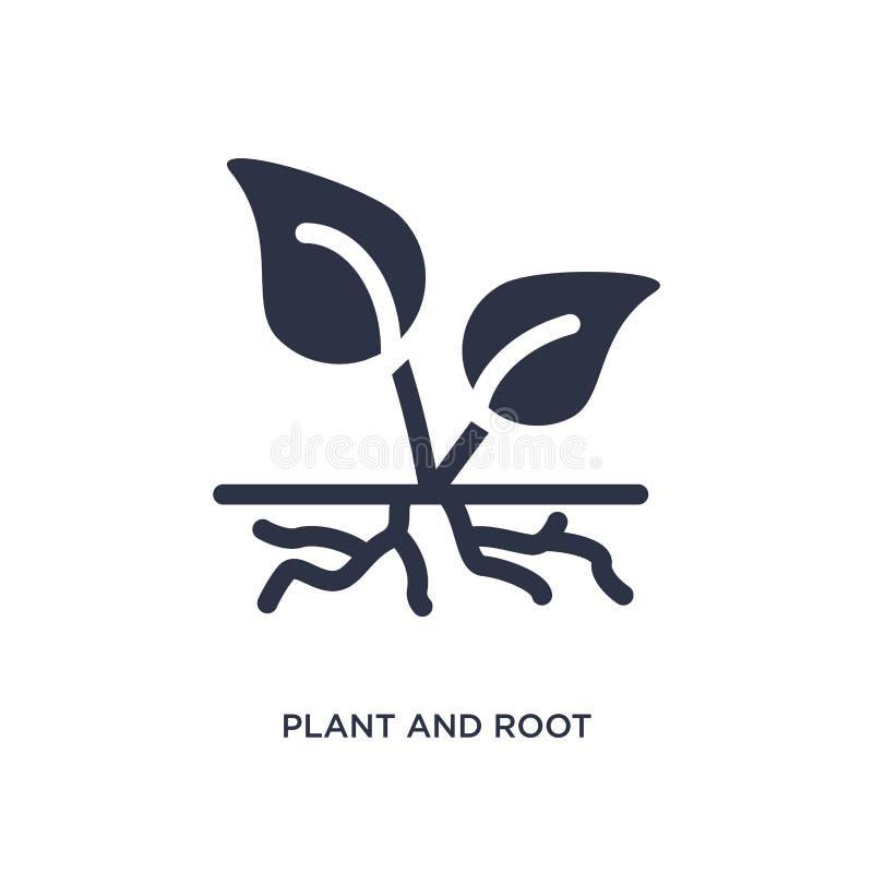 icono de la planta y de la raíz en el fondo blanco Ejemplo simple del elemento del concepto de la ecología libre illustration