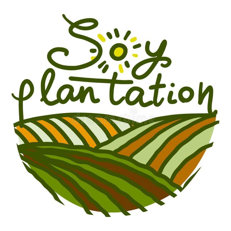 Icono de la plantación de la soja, estilo exhausto de la mano libre illustration
