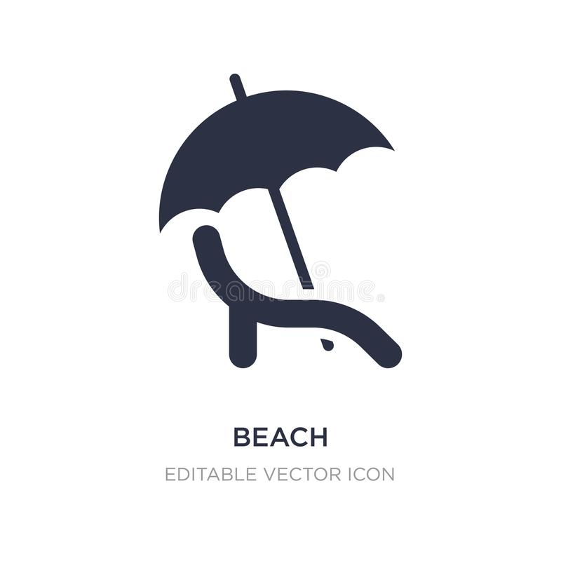 icono de la playa en el fondo blanco Ejemplo simple del elemento del concepto de las muestras stock de ilustración