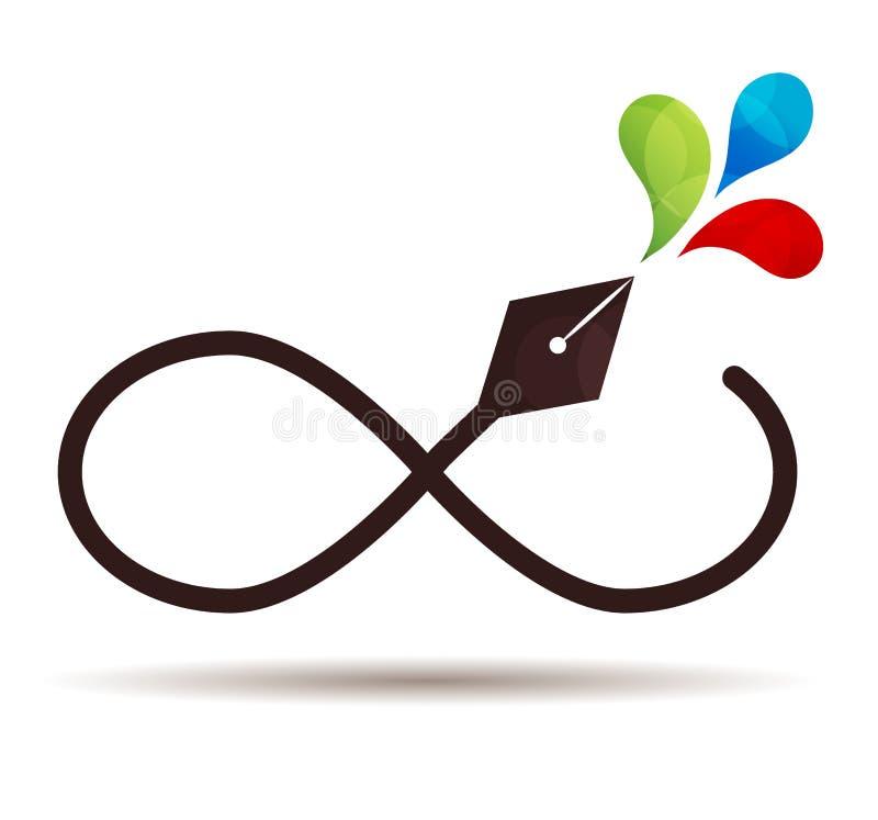 Icono de la pluma del infinito ilustración del vector