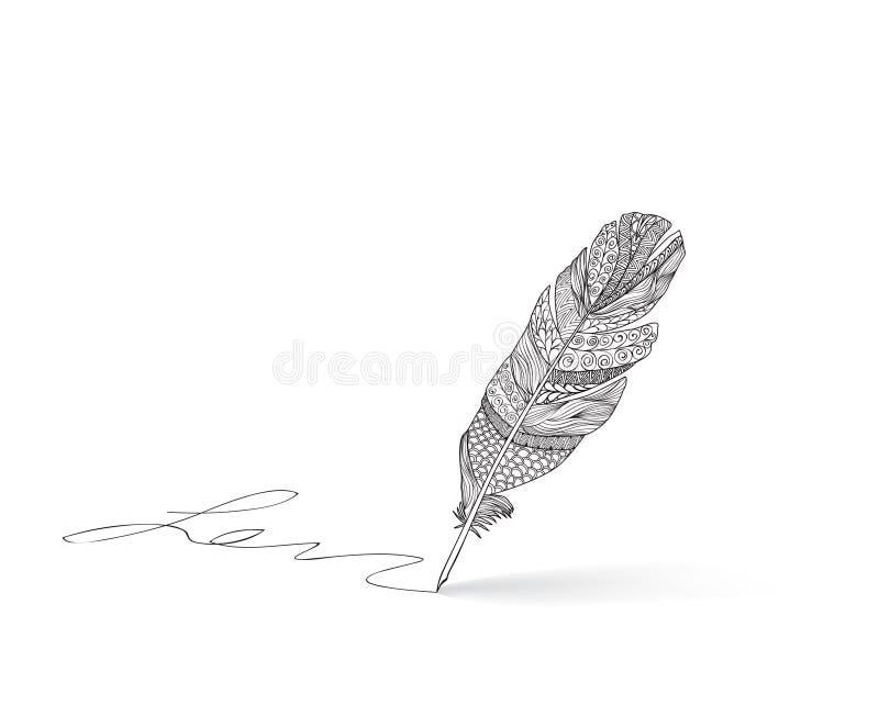Icono de la pluma de la pluma Muestra de la caligrafía Icono de la firma stock de ilustración
