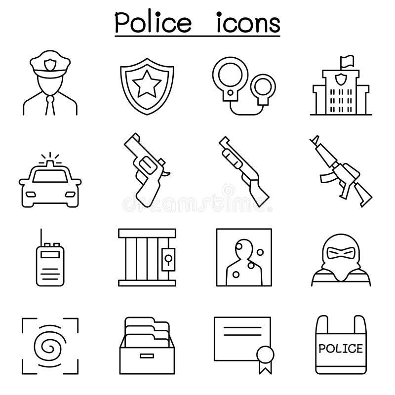 Icono de la policía fijado en la línea estilo fina stock de ilustración
