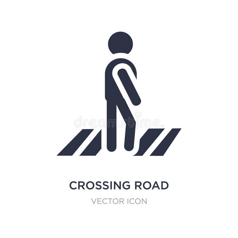 icono de la precaución del camino que cruza en el fondo blanco Ejemplo simple del elemento del concepto de los mapas y de las ban stock de ilustración