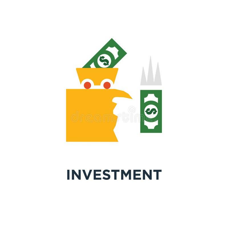 icono de la precaución de la inversión diseño del símbolo del concepto de la pérdida del dinero, evaluación de riesgos, deuda fin libre illustration