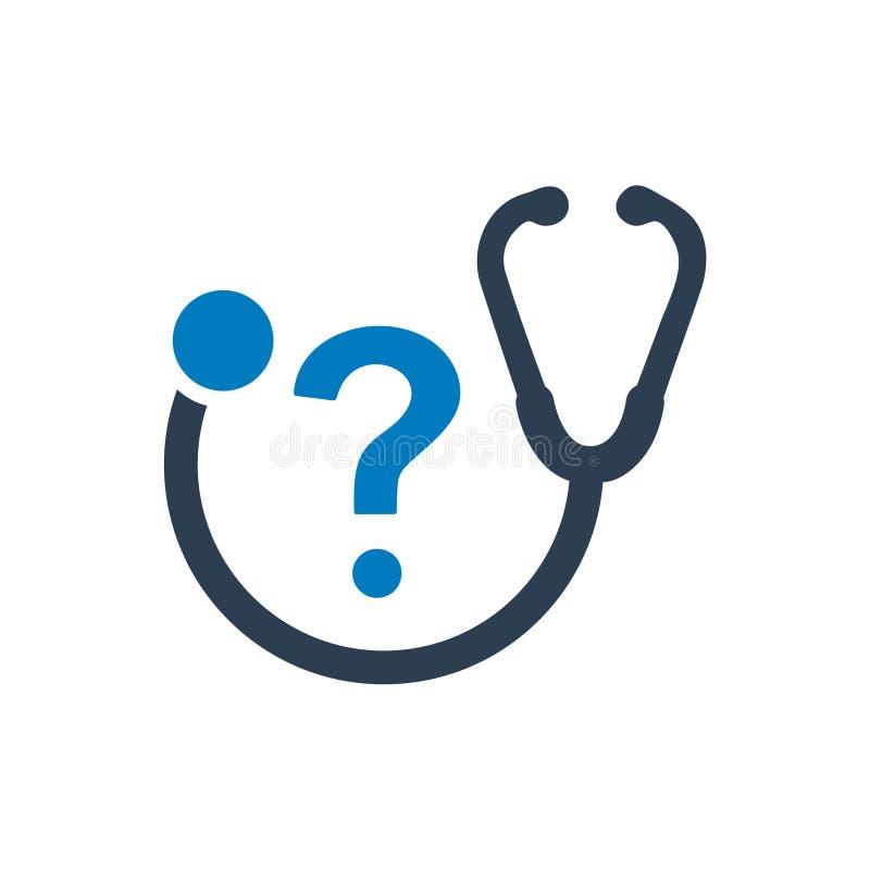 Icono de la pregunta de la atención sanitaria ilustración del vector