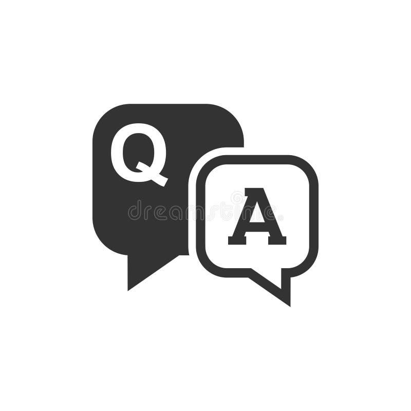 Icono de la pregunta y de la respuesta en estilo plano Burbuja del discurso de la discusión libre illustration