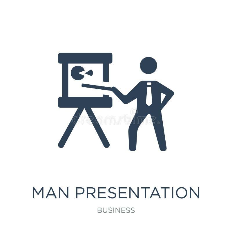 icono de la presentación del hombre en estilo de moda del diseño icono de la presentación del hombre aislado en el fondo blanco i ilustración del vector