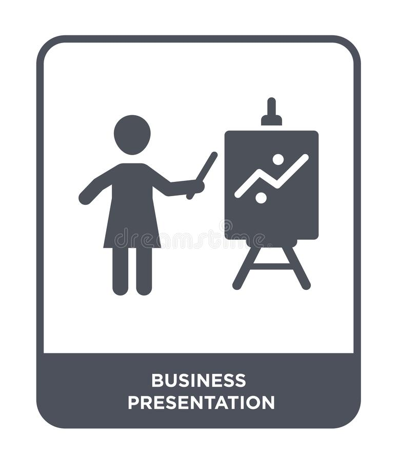 icono de la presentación del negocio en estilo de moda del diseño Icono de la presentación del negocio aislado en el fondo blanco libre illustration