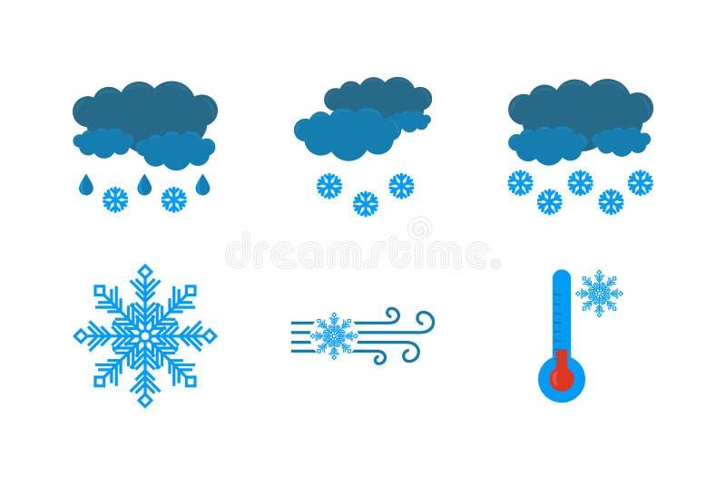 Icono de la previsi?n metereol?gica en un fondo blanco El icono de los vectores de las nubes y de la lluvia, nieve, ventisca, nev libre illustration