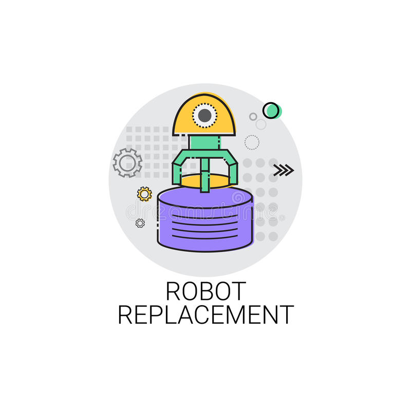 Icono de la producción de la industria de la automatización industrial de la maquinaria del reemplazo del robot stock de ilustración