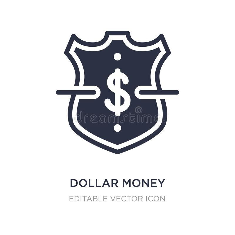 icono de la protección del dinero del dólar en el fondo blanco Ejemplo simple del elemento del concepto del negocio ilustración del vector