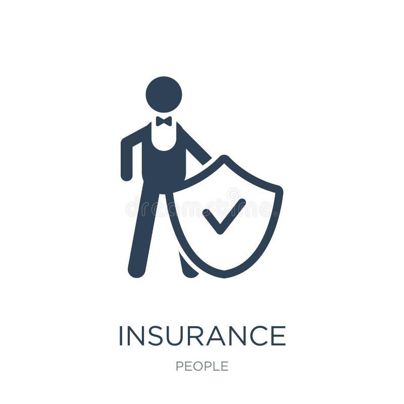 icono de la protección del seguro en estilo de moda del diseño icono de la protección del seguro aislado en el fondo blanco Prote ilustración del vector