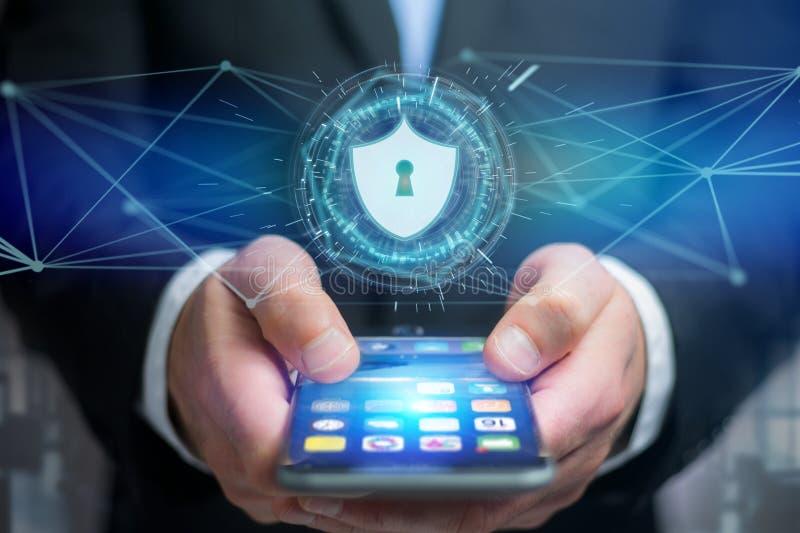Icono de la protección de seguridad en un interfaz futurista ilustración del vector