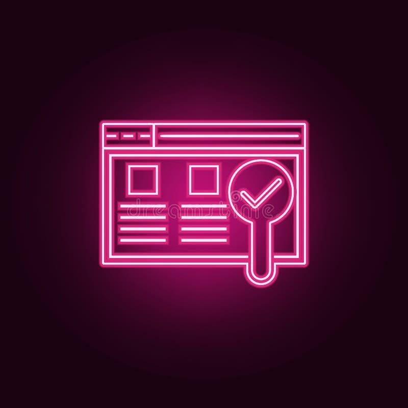 icono de la prueba de la utilidad Elementos del desarrollo web en los iconos de ne?n del estilo Icono simple para las p?ginas web libre illustration