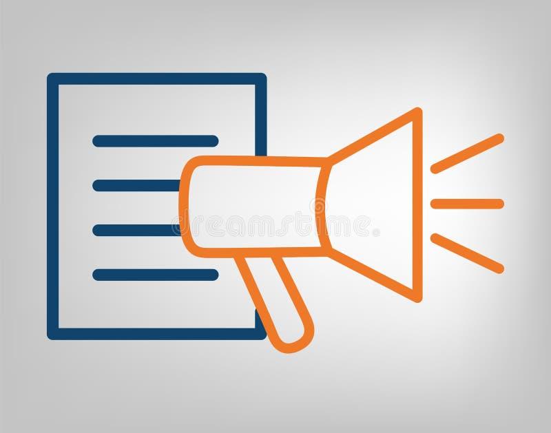 Icono de la publicación Megáfono con las líneas azules de la lista de la información y anaranjadas lacónicas en fondo gris objeto ilustración del vector