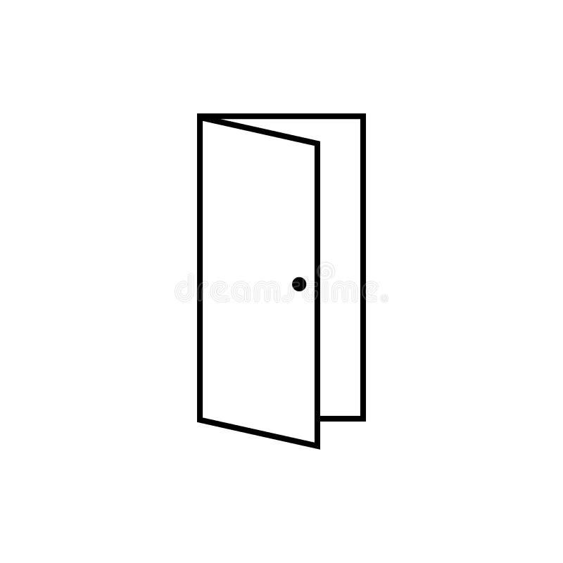 Icono de la puerta abierta, ejemplo del vector de la salida vector eps10 del icono del esquema de la puerta Puerta abierta libre illustration