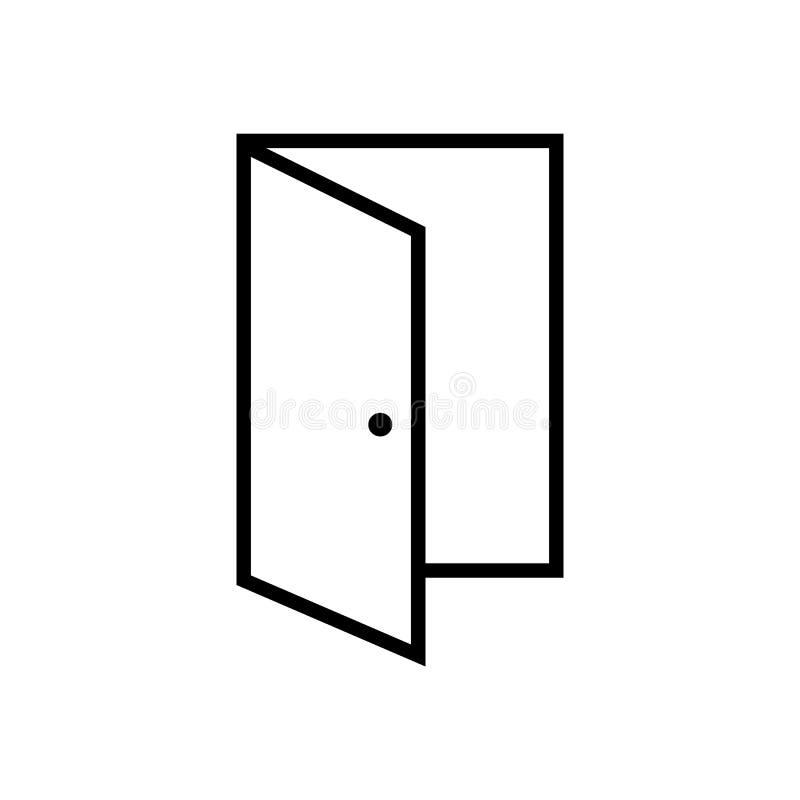 Icono de la puerta abierta, ejemplo del vector de la salida vector eps10 del icono del esquema de la puerta icono abierto de la p libre illustration