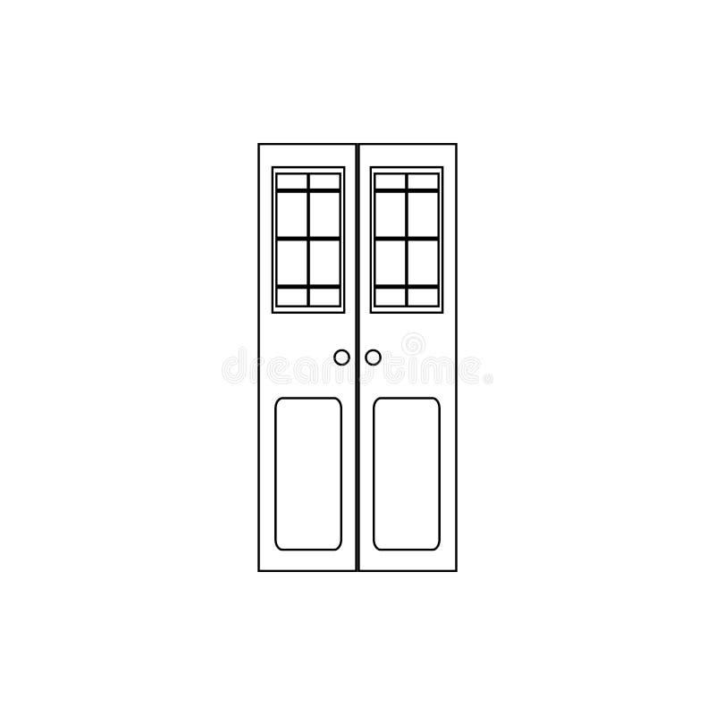 Icono de la puerta doble Elemento de la puerta para el concepto y el icono móviles de los apps de la web Línea fina icono para el ilustración del vector