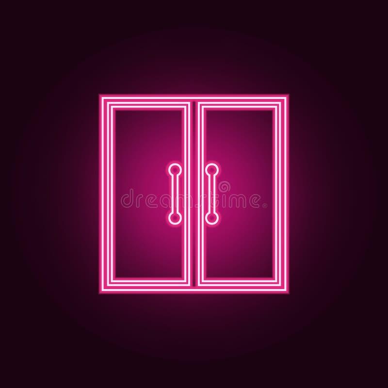 Icono de la puerta doble Elementos de la puerta en los iconos de ne?n del estilo Icono simple para las p?ginas web, dise?o web, a stock de ilustración