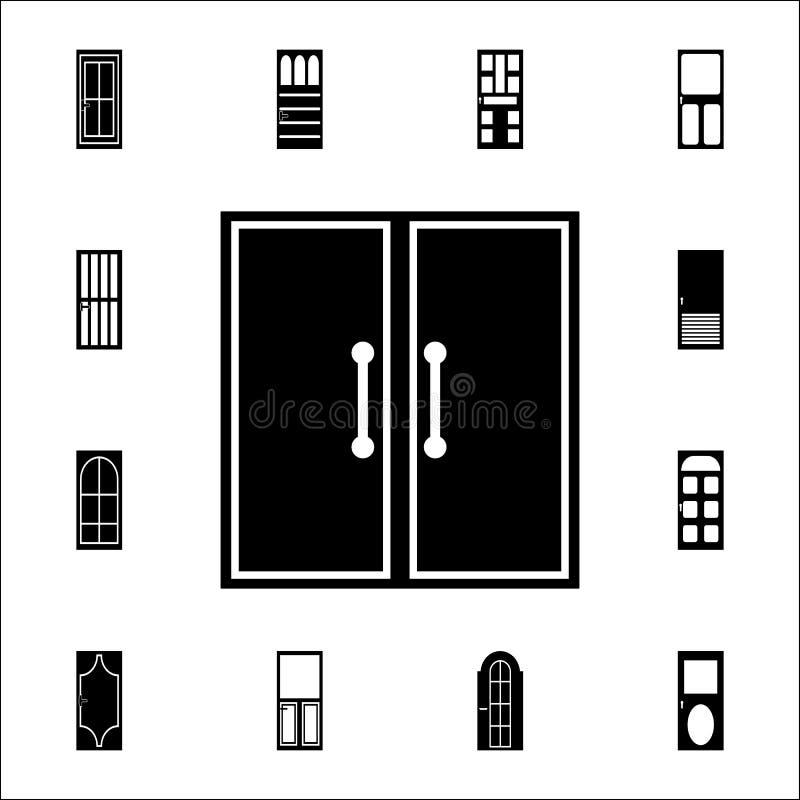 Icono de la puerta doble Sistema universal de los iconos de las puertas para el web y el móvil ilustración del vector