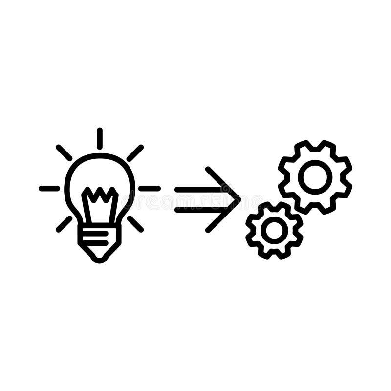Icono de la puesta en práctica, ejemplo del vector stock de ilustración